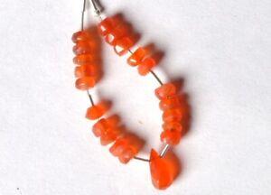 Faceted CARNELIAN RONDELLE (4.5-5 mm) / DROP (9-10mm long) Gemstone Beads 73-13