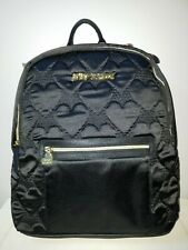 New Betsey Johnson Quilted Hearts Backpack XL Silky Satin Black Skull $108