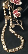 Vintage Retro Classic Event Formal Wedding Gold link faux pearl matinee necklace