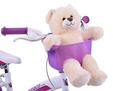 PURPLE TOY TEDDY BEAR FRONT BIKE BASKET HOLDER SEAT CHILD BOY GIRL FUN ACCESSORY