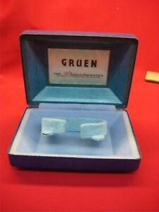 VINTAGE GRUEN WRISTWATCH BOX - NAVY BLUE WITH SPRING HINGE TOP - NICE