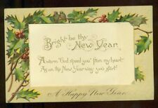 BRIGHT BE THY NEW YEAR Framed with Holly Berries Verse 1911 PFB Vintage Postcard