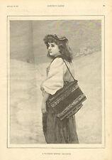 A Wandering Minstrel, Acordian, Squeeze Box, Girl, Vintage, 1892 Antique Print.