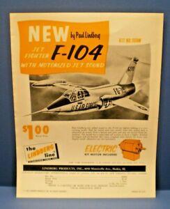 "LINDBERG 1965 "" F-104 with motorized jet sound ""single sided dealer sales flyer"