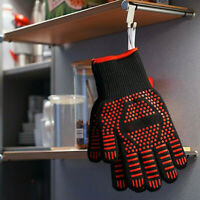 BBQ Gloves Long Barbecue Heat Resistant Silicone Non-slip Mitts Oven Grilling
