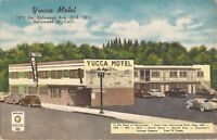 Hollywood, CALIFORNIA - Yucca Motel - ROADSIDE ADVERTISING - LINEN - old cars