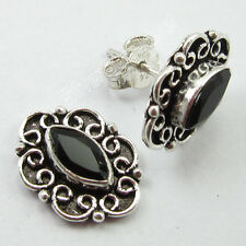 """92.5% Pure Solid Silver Hot Selling Black Onyx Stunning Studs Earrings 0.6"""""""