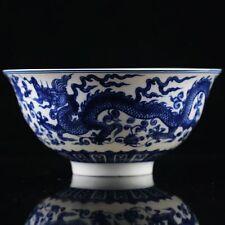 CHINESE BLUE & WHITE PORCELAIN HAND PAINTED DRAGON PATTERN BOWL W QIANLONG MARK
