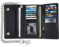 Men's RFID Black Leather Long Motorcycle Checkbook Deluxe Wallet Biker Chain