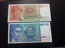 YUGOSLAVIA BANKNOTES - 20000 DINARA 1987 + 500 DINARA  1990- 2 PCS !!!