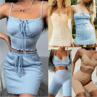 Womens 2 Piece Co Ord Set Ladies Sexy Crop Tank Top Mini Skirt Tight Shorts Suit