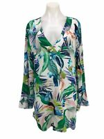 La Blanca In The Moment Tropical Print Tunic Cover Up Dress Size L