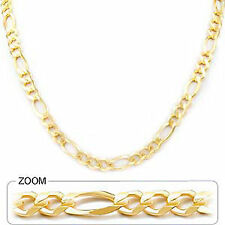 "7mm 18"" 24.00gm 14k Yellow Solid Gold Men's Open Figaro Necklace Chain Polished"