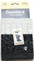 Bearpaw Women's Cable Knit Boot Topper Grey Black Reversible One Size OS New NWT