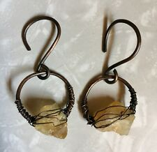 RAW CITRINE CRYSTAL TUNNEL STRETCHED EAR WEIGHTS HANGERS DANGLE EARRINGS