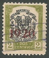 Stamps, Domnican Republic Scott# 222, Coat of Arms, Green, 2c, Used, 1920