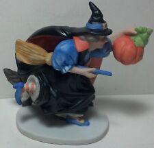 Heartline Halloween Witch figurine w/ broom, cat RETIRED
