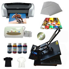 "15""X15"" Flat Heat Press Machine Epson Printer Paper Ink CISS T-shirts Vinyl CD"