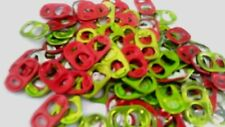 100  LIME GREEN / RED TABS ALUMINUM CAN TABS