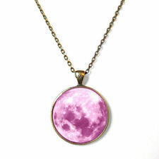Cute Kawaii Pastel Pink Moon Necklace Pastel Goth Soft Grunge Pendant Jewelry