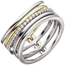 Ring Zirkonia mehrreihig 925 Silber bicolor vergoldet breit Silberring Damen
