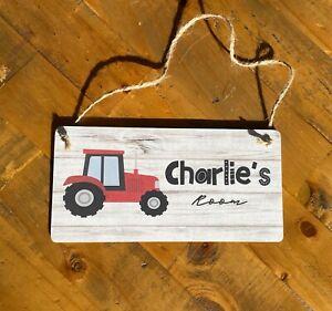 Tractor door sign gift idea boys toy room den birthday Christmas present name