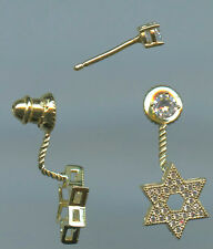 925 Gold Vermeil & Sparkling CZ Pave Star of David Studs with Jacket Earrings