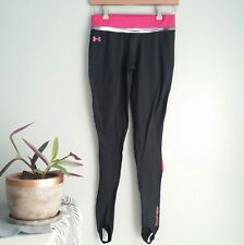 Under Armour Womens Small S Pink Black ColdGear Leggings Stirrups Pants Athletic