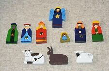 Hand-Painted Wood Cutout 10-Piece Nativity Set Colorful Christmas from Sri Lanka