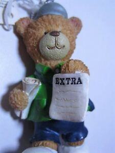 Christmas Bear RUSS Very Beary News Bear Ornament #32008  NWT