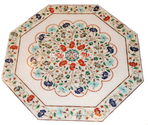 White Marble Coffee Table Multi Gemstone Marquetry Floral Inlay Art Decors H2419