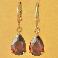 Nice New 9K Yellow Gold Filled Ruby Red CZ Pear Shaped Tear Drop Dangle Earrings