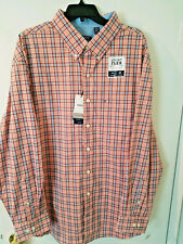 Izod Mens Shirt Long Sleeve Button Front 2XL Tawny Orange with Blue Plaid NEW
