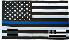Wholesale 3x5 Police USA Thin Flag Decal Sticker Thin Blue Line Lapel Pin Set 5