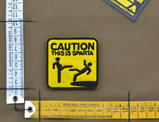 """Ricamata / Embroidered Patch """"Caution This is Sparta"""" with VELCRO® brand hook"""