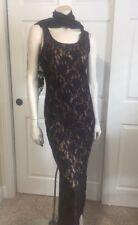 Joseph Ribkoff Creations Plum Purple Lace Tank Top Long Slip Dress Size 8
