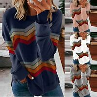 Women Long Sleeve Color Block Striped T-Shirt Ladies Casual Baggy Blouse Tops UK