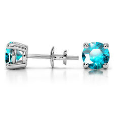 1.00 Ct Round Cut Solitaire Aquamarine Earring 14K White Gold Stud Earrings