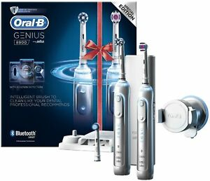 Oral-B Genius 8900 Set of 2 Rechargeable Toothbrushes - Silver *BRAND NEW*