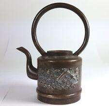 Antico Tè Brocca Ottone, Fatto a Mano, Cina, circa 1900 AL600