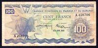 Rwanda Burundi 100 FRANCS 1960 P- 5 aVF Prefix A