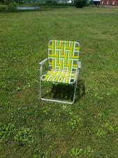 Vtg Aluminum Folding Lawn Patio Beach Chair Webbed Green & Yellow Retro!
