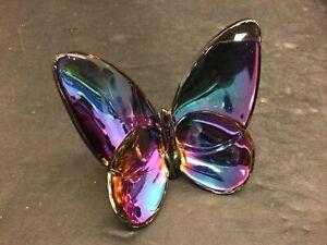 BACCARAT France Clear Iridescent Papillon Crystal Lucky Butterfly Figurine EUC