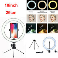 10'' LED Lamp Ring Light Dimmable Lighting Kit Selfie Tripod Makeup Youtube Live