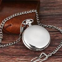 Smooth Silver Men Women Quartz Pocket Watch 30cm FOB Chain Full Hunter Gift