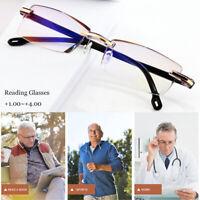 Mens Women Rimless Reading Glasses Anti Blue Light Lens +1.0/1.5/2.0/2.5/3.0/4.0