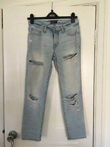 Abercrombie women's ripped denim blue jeans size 25 Short, Very good condition