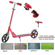 Adult Kids Folding Kick Scooter Height Adjustable Portable 2- 200mm Wheels Red