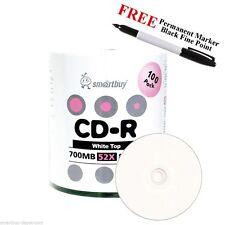 100 Smartbuy 52X CD-R 700MB White Top Blank Media Disc + Black Permanent Marker