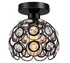 Semi Flush Mount Ceiling Light Fixture, Antique Black Metal Crystal Ceiling Lamp